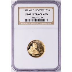 1997-W $5 Proof Roosevelt Commemorative Gold Coin NGC PF69 Ultra Cameo