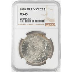 1878 7TF Reverse of 79 $1 Morgan Silver Dollar Coin NGC MS65