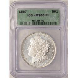 1887 $1 Morgan Silver Dollar Coin ICG MS65PL