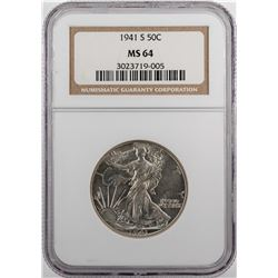 1941-S Walking Liberty Half Dollar Coin NGC MS64