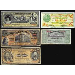 Lot of (5) Assorted Mexican Revolution Currency Notes