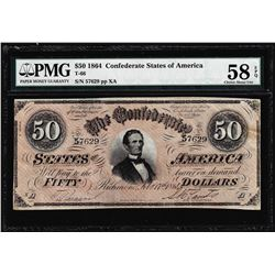 1864 $50 Confederate States of America Note T-66 PMG About Uncirculated 58EPQ