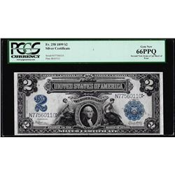 1899 $2 Mini-Porthole Silver Certificate Note Fr.258 PCGS Gem New 66PPQ