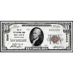 1929 $10 City National Bank of Oil City, Pennsylvania CH# 5240 National Currency Note