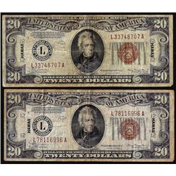 Lot of 1934 & 1934A $20 Hawaii WWII Emergency Issue Federal Reserve Notes