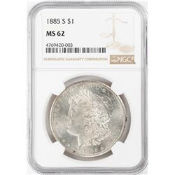 1885-S $1 Morgan Silver Dollar Coin NGC MS62