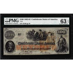 1862 $100 Confederate States of America Note T-41 PMG Choice Uncirculated 63EPQ