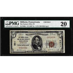 1929 Type 1 $5 Millheim, PA CH# 9511 National Currency Note PMG Very Fine 20