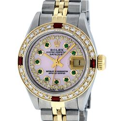 Rolex Ladies Two Tone 14K Pink MOP Diamond Emerald & Ruby Datejust Wriswatch