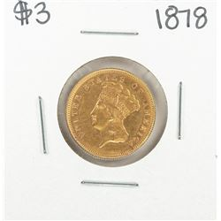 1878 $3 Indian Princess Head Gold Coin