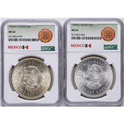 Lot of (2) 1948Mo Mexico 5 Pesos Silver Coins NGC MS64