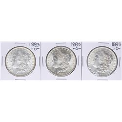 Lot of (3) 1883-O $1 Morgan Silver Dollar Coins