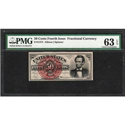 1863 50 Cent Fourth Issue Lincoln Fractional Currency Note PMG Choice Unc. 63EPQ