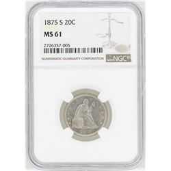 1875-S Twenty Cent Piece Coin NGC MS61
