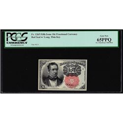 1874 Fifth Issue Ten Cent Fractional Currency Note Fr.1265 PCGS Gem New 65PPQ