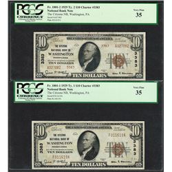 1929 $10 Ty.1/2 Citizens NB Washington, PA CH# 3383 National Currency Notes PCGS VF35