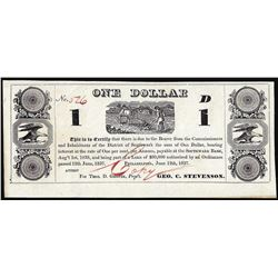 1837 $1 District of Southwark, PA Obsolete Banknote