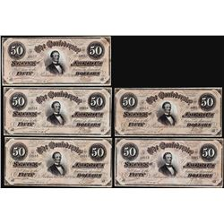 Lot of (5) Consecutive 1864 $50 Confederate States of America Notes