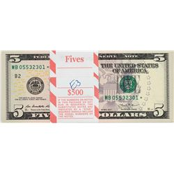 Pack of (100) Consecutive 2013 $5 Federal Reserve Star Notes