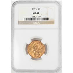 1895 $5 Liberty Head Half Eagle Gold Coin NGC MS62