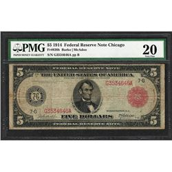 1914 $5 Federal Reserve Note Chicago Fr.838b PMG Very Fine 20