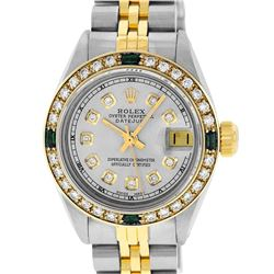 Rolex Ladies Two Tone Grey Diamond & Emerald 26MM Datejust Wristwatch