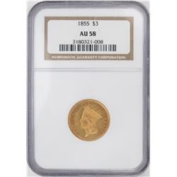 1855 $3 Indian Princess Head Gold Coin NGC AU58