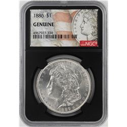 1886 $1 Morgan Silver Dollar Coin NGC Genuine