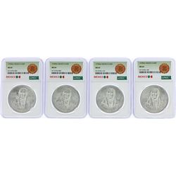 Lot of (4) 1978Mo Mexico 100 Pesos Silver Coins NGC MS64