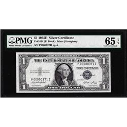 1935E $1 Silver Certificate Note Fr.1614 PMG Gem Uncirculated 65EPQ Low Serial Number