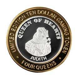 .999 Silver Four Queens Hotel & Casino  Nevada $10 Limited Edition Gaming Token