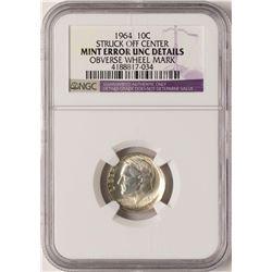 1964 Roosevelt Dime Coin NGC Mint Error Off-Center UNC Details