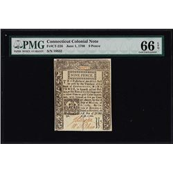 June 1, 1780 Connecticut 9 Pence Colonial Note Fr. CT-226 PMG Gem Uncirculated 66EPQ