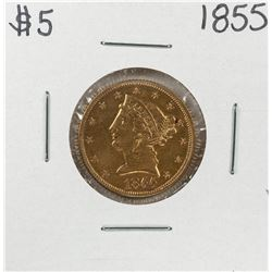 1855 $5 Liberty Head Half Eagle Gold Coin