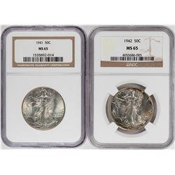 Lot of 1941-1942 Walking Liberty Half Dollar Coins NGC MS65