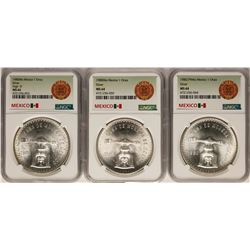 Lot of  (3) 1980Mo Mexico 1 Onza Silver Coins NGC MS64