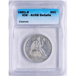 1861-S Seated Liberty Half Dollar Coin ICG AU58 Details
