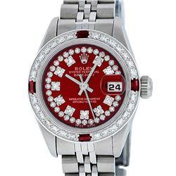 Rolex Ladies Stainless Steel Red Ruby String & Diamond Datejust Wristwatch