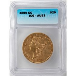 1890-CC $20 St. Gaudens Double Eagle Gold Coin ICG AU53