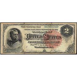 1886 $2 Hancock Silver Certificate Note