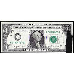 1969B $1 Federal Reserve Note Dallas Ink Smear ERROR