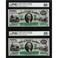 Matching Serial Set- 1872 $50 South Carolina Obsolete Notes PMG Superb Gem Unc. 68EPQ