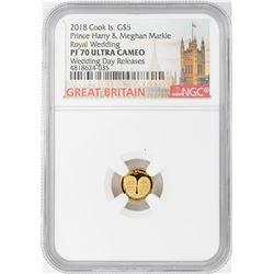 2018 $5 Cook Island Royal Wedding Gold Coin NGC PF70 Ultra Cameo