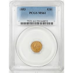 1853 $1 Liberty Head Gold Dollar Coin PCGS MS61
