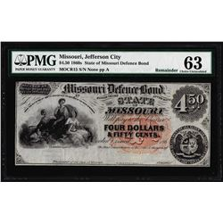 1860's $4.50 State of Missouri Defence Bond Obsolete Note PMG Choice Uncirculated 63