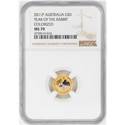 2011P $5 Australia Year of the Rabbit Colorized Gold Coin NGC MS70
