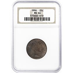 1904 Barber Quarter Coin NGC MS64