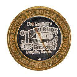.999 Silver Riverside Resort Hotel & Casino $10 Casino Limited Edition Gaming Token