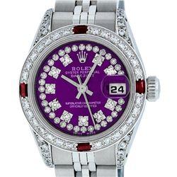 Rolex Ladies Stainless Steel 26MM Purple String Diamond & Ruby Datejust Wristwatch