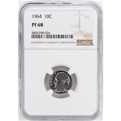 1964 Proof Roosevelt Dime Coin NGC PF68